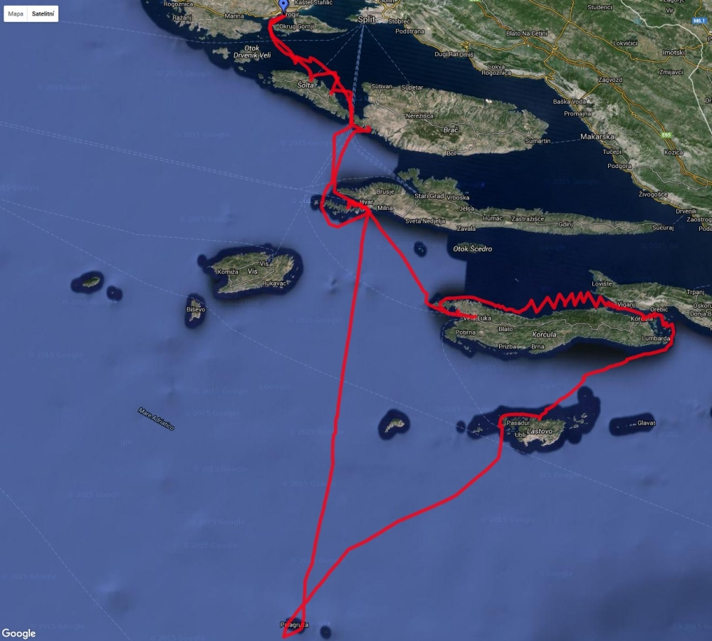 Záznam trasy Hook Sailing '15