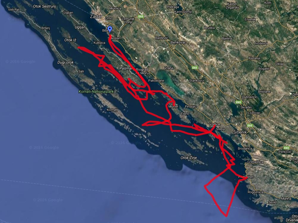 Už první pohled na trasu plavby napovídá, že nuda to nebyla :)