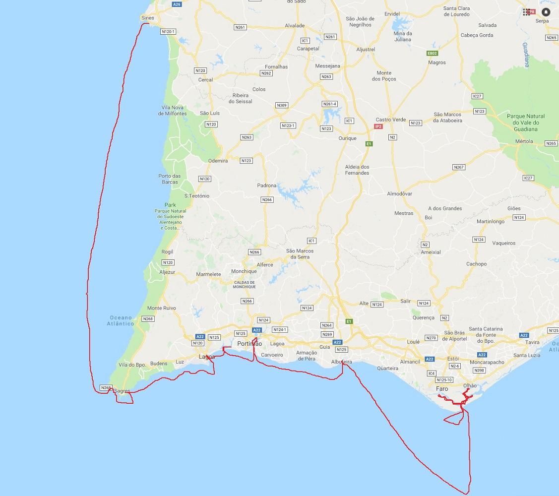 Přibližná, od ruky načrtnutá trasa plavby. Navionics letos ještě přitvrdil, takže z navigačních tras mám jen hodně skromné paběrky.